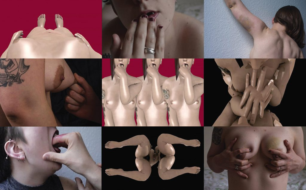 A 3x3 grid of landscape images from the artwork. Clockwise from top left: a perspective view of the artist, a white digital avatar body with breasts. The body is pictured on a dark pink background, and the arms are at the sides. A picture of the artist, from the lower face to the shoulders. The artist is laying down, and their hand is in front of their slightly parted lips, wet with spit; their nails are dark red and short. A picture of the artist facing a white textured wall. Her arm is raised toward the left side of the frame, while her head is turned toward the right bottom corner. She has shoulder length brown hair and a large bruise on her left arm. The image defines her back muscles. An image of two avatars face to face. Their hands intertwine and go through one another to touch one another's mouths. The background is black. A picture of a white person sitting on a bed, pictured from the upper chest to the upper stomach. They have tattooed arms, and are grabbing their breasts so that all of their fingers are splayed out. They have a bright yellow bruise on their left breast. An image of two white digital avatars facing one another with their legs kneeling and splayed apart, face to face, viewed from the bottom. Their genitalia is visible. A picture of a white person with smeared lipstick, visible from the lower half of their face to the upper chest. They are in ¾ view and someone else's hand is in their mouth. A side view close up of the artist's nipples, one of which is being pinched. Center image: Three digital avatars of the artist complete with tattoos and hair, with their fingers in their mouths, on a pink background. They overlap one another slightly.