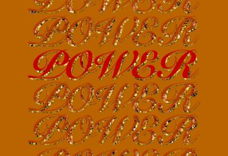 The word 'power' repeated over and over down the middle of the image, in red and in gold glitter layered on top of each other on a dark yellow background. One 'power' in the middle of the screen is brighter red.