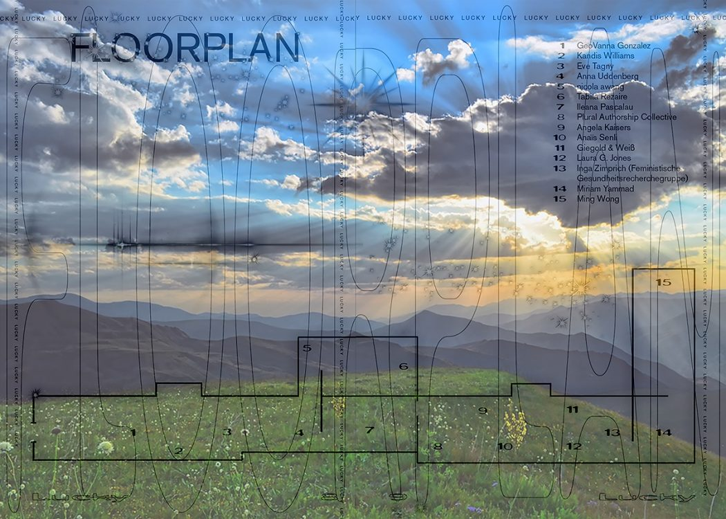 The floorplan for the lucky exhibition superimposed over an idyllic green landscape of hills in a sunset. the effect is meant to be ironic.