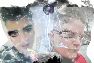 Two faces with a disco ball, stars, lightening, and futuristic elements