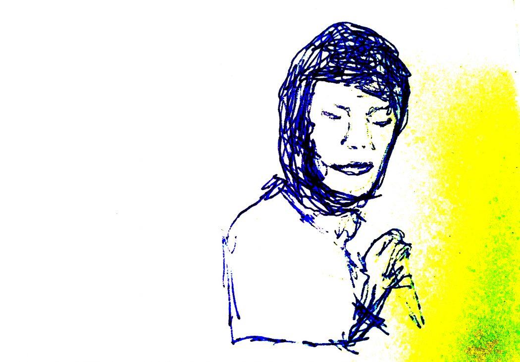A sketch in blue ballpoint pen of a person with a head covering holding an object. A yellow-green ghost is to the right of the figure. The left side of the frame is blank. The levels of the image have been adjusted to make the contrast appear more extreme.