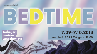 Cropped poster for Bedtime exhibition. The background is a series of purple, blue, white, and black distorted shapes. Bedtime is across the top in alternating blue, purple, and yellow letters.