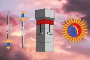 An image of several illustrated color images on a pink photographic sunset background. On top of the photo, from left to right, are: A sword with a blue handle pointing upward, a sword with a blue handle pointing downward, a grey stone block square tower with small windows and a red band below the ramparts, and a sun in gold with a blue shadow with a white outline of a crying person in it and a red highlight. There is a small golden multi-point star in each corner of the image.