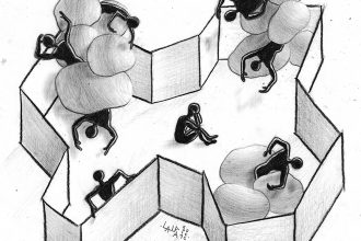 A pencil style drawing of a bunch of small black non-detailed figures trapped in an interior space made of 2D walls. Some of the figures are in motion, bouncing chaotically off one another, and others are struggling to leave the enclosure or sitting alone. The tone is sad and trapped.