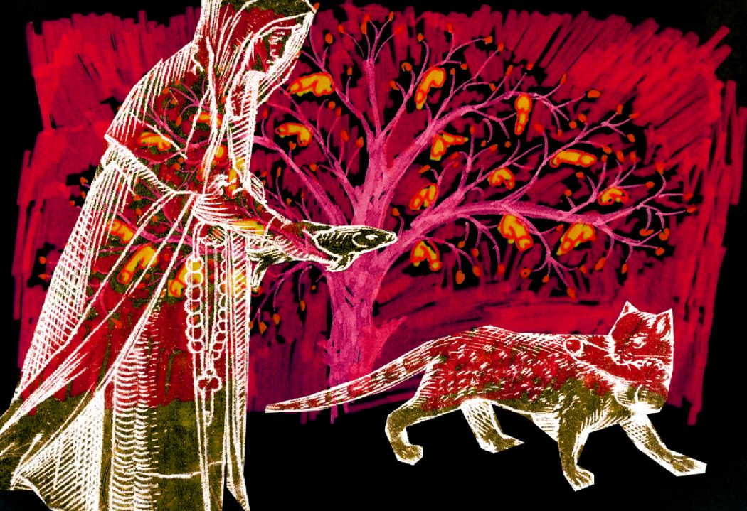 A collage-style image of a person draped in fabric, offering a fish to a cat holding a detatched penis or dildo in its mouth. The cat and person are white outlines with fine details; the darker areas are see through. In the background, a pink tree with yellow penises in it is on a red, hand-colored textured background. The background behind that is black.