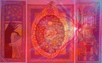 A triptych of three drawings by Hildegard von Bingen with an abstracted red, pink and blue retina laid over top.