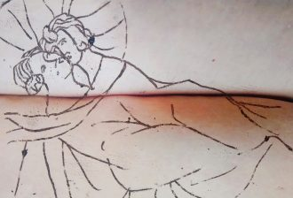 A black pen line drawing of two women embracing with halos behind their head, in a medieval style. The drawing is superimposed over two skin body parts with light skin pressing against one another horizontally, perhaps arms and torso or legs.