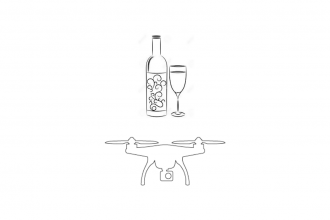 A detail of a black and white line drawing from the zine. The drawing depicts a bottle of wine with curly graphics on the label, and a full glass of wine next to it to the right. Underneath, the outline of a four propeller drone with a camera is centered. The line drawings are on a white background.