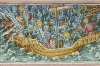 A 15th century depiction of Ivar and his brother Ubba sailing to England. Ivar and Ubba stand in the front of the ship each wearing armor, a weapon resembling a spear and a crown. They are surrounded by multiple people also wearing armor and holding up weapons. The waves and clouds that surround the ship indicate a stormy sea.