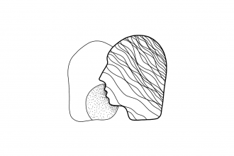 A black line drawing on a white background by Andres Aragoneses, featuring the silhouettes of two heads, facing one another closely. The silhouette in the foreground is decorated with wavy lines, positioned with its mouth close to the ear of the silhouette in the background, which is decorated with dots around where the voice of the front head might be whispering or breathing.