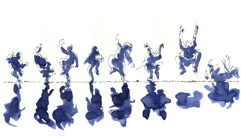 Dark blue watercolor drawing eight people dancing side by side in a row. Their body outlines are emphasized with black marker lines. Each of them casts a dark shadow.