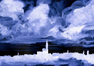 A negative image of a dark blue watercolor drawing. It is a landscape panorama showing a small village with a church in the middle. Above the village there are thick stormy clouds.