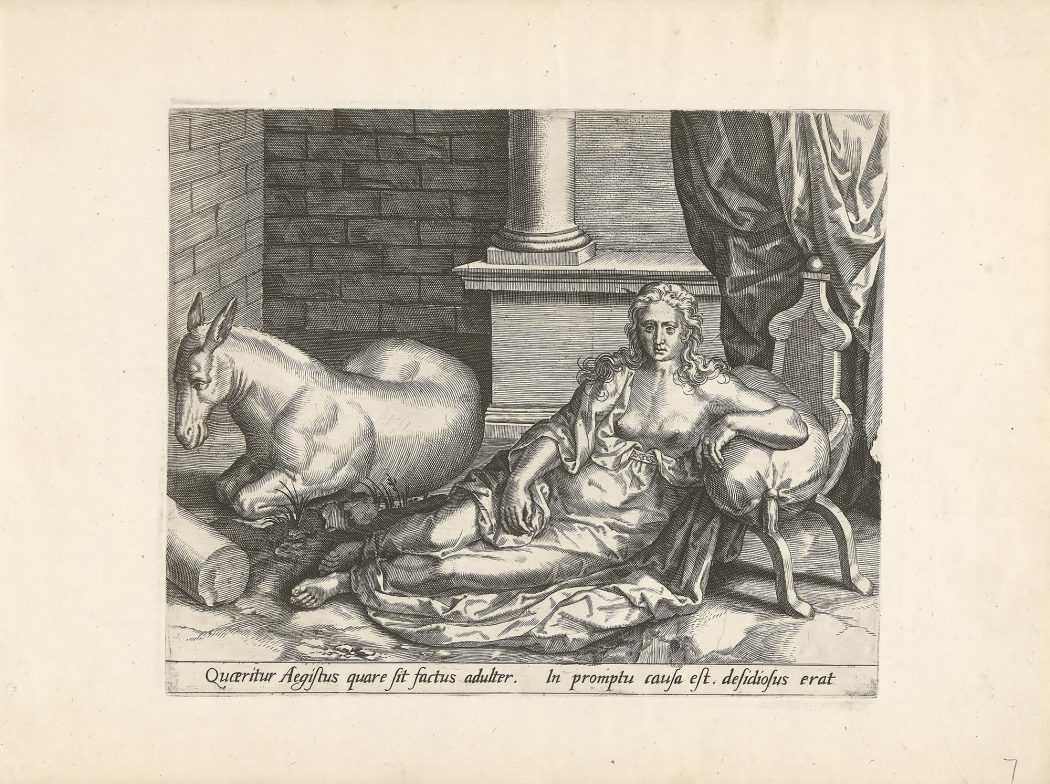 A print on paper made from an engraving. The image is of a noble-looking woman with a fancy dress and exposed breasts, long hair curling to her shoulders, and a listless expression on her face staring into space frontally. She is leaning on a poof chair, and is seated on the floor. Some architectural elements are visible around her, with a column behind her. To the left of her and slightly behind, a donkey lays on the floor with its feet curled underneath, durned away from the point of view with one eye visible in profile.