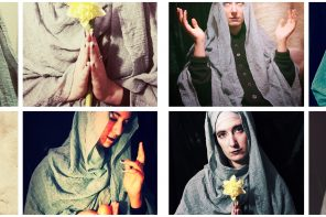 A grid of eight photos. Each of the photos shows the same person, dressed as the Virgin Mary and in typical poses of holy figures. Through the self-assembled clothing and details like an egg in a mouth, the photos appear ironic.