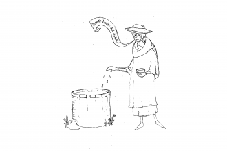 """A line drawing. A woman stands beside a well, her right hand slightly extended as she throws powder into the opening of the well. The other hand holds a small cup. A banderole, a type of medieval speech banner, reads """"Make them all sick."""" She is wearing a wide brimmed hat, tunic, cloak, and gloves."""