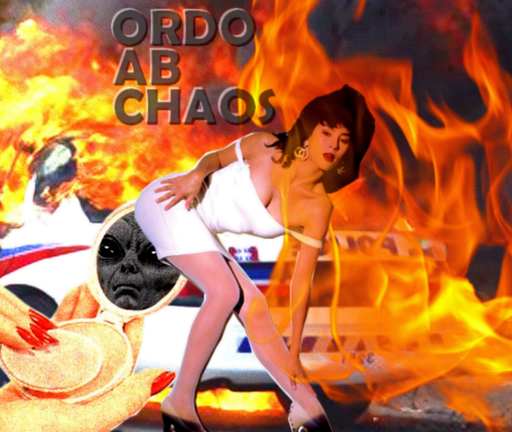 A collage of a light skinned person bending down and touching their calf in a skintight white dress. They have dark, long hair and are wearing gold earrings. Flames engulfing a police car are visible in the background, and black text spells out 'Ordo Ab Chaos'.