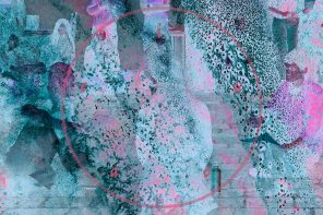 A horizontal image of a teal, pink, and light blue patterned abstract image with some abstract, fingerprint-like elements.