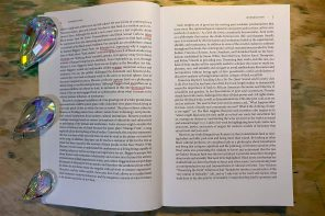 The image shows an open book with some words underlined in red. On the left side of the book are 3 drop-shaped crystals.