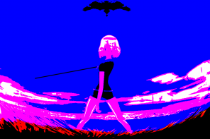A fisheye, solarized appearance image of a person with a bob haircut and a staff blocking a black shape. The image is blue, pink, red, black, and white.