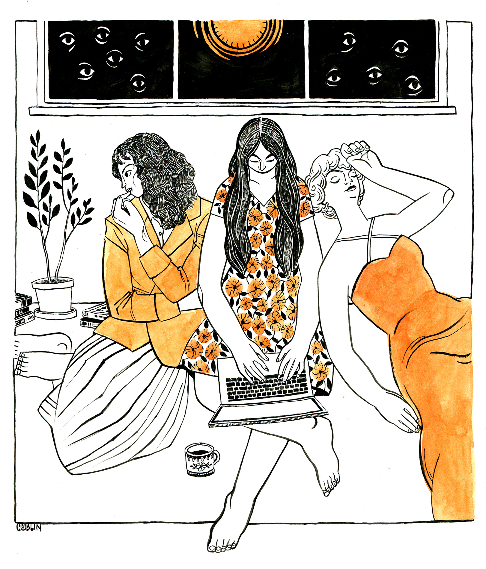 An illustration of three women sitting on the ground under a window filled in in back with a yellow sun and surrealist eyes. The woman in the middle is typing on a laptop, while the other two represent cinema heroines discussed in the written piece.