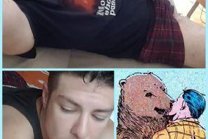 Photo collage by Bard. It consists of three images, each with a bright blue frame. Two of them are selfies, one of his body in shorts and t-shirt lying on a bed, and one of his face also lying on a bed. The third image is a comic of a bear and a man kissing.