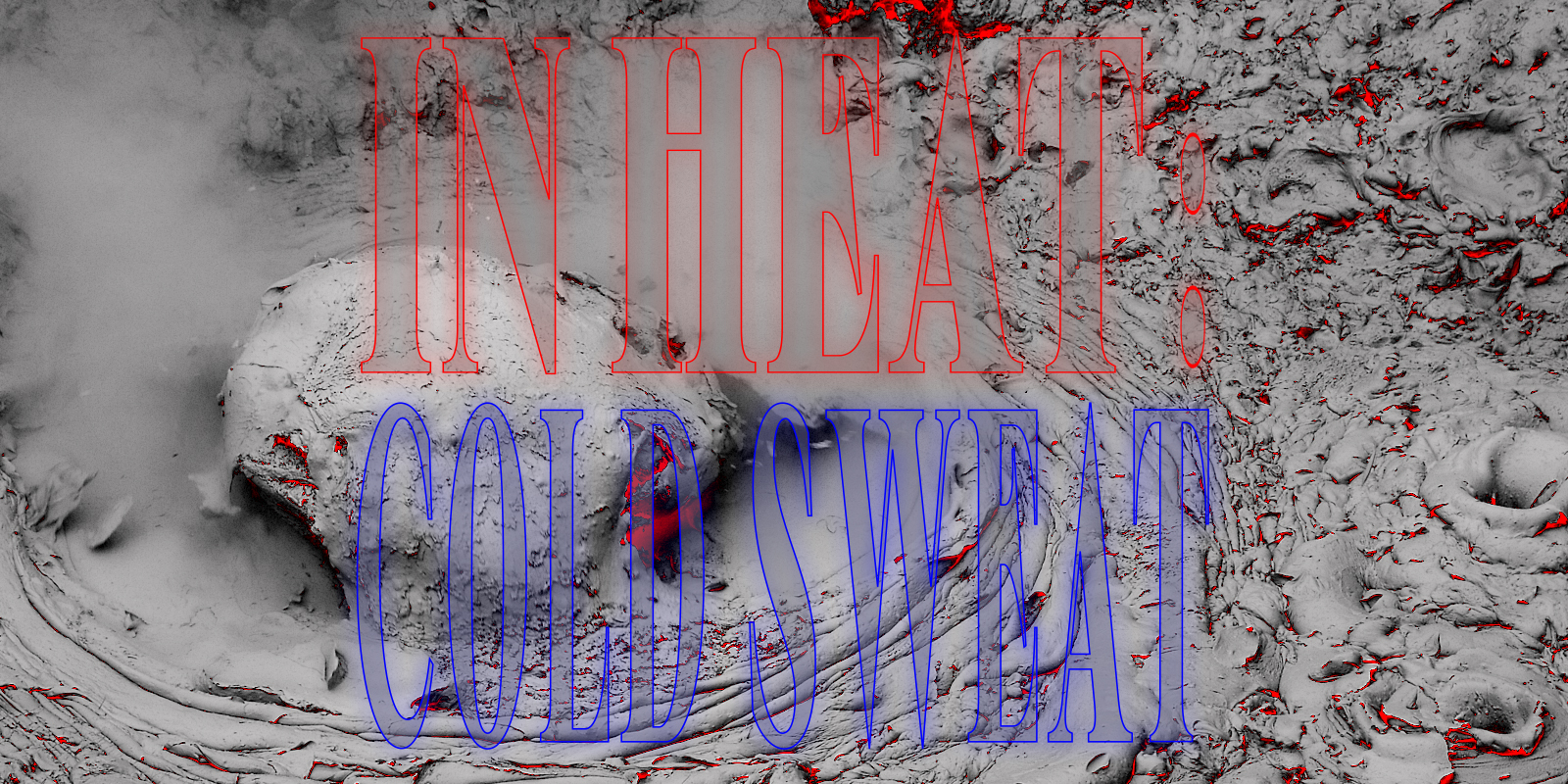 "This is a banner for Coven Berlin's online event called In Heat: Cold Sweat. By clicking on it you will get to another website, the Cyberbog. The background of the image consists of a gray rendering of lava with some red glowing spots and steam. The words ""In Heat"" have red glowing outline, ""Cold Sweat"" a blue glowing outline."