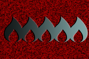 An image of 5 stylized flames on a red glitter background. The flames are next to one another in the middle of the frame, and are in a left to right gradient from black to light blue.