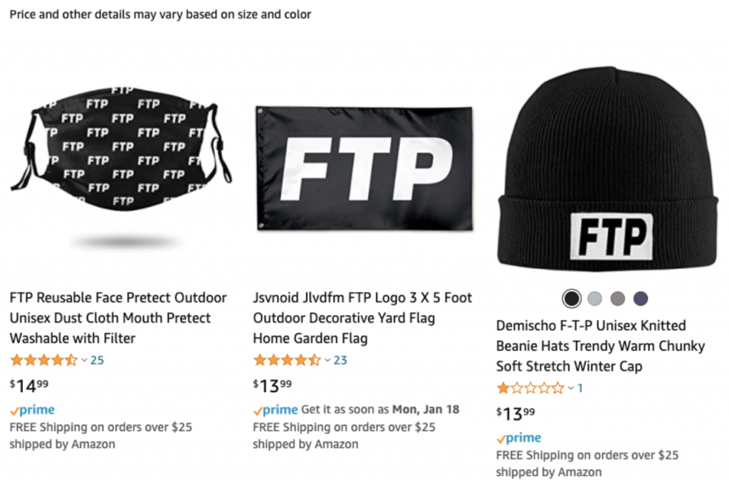 Three products from Amazon with FTP lettered in white on black. The products are a face mask, a flag, and a beanie hat.