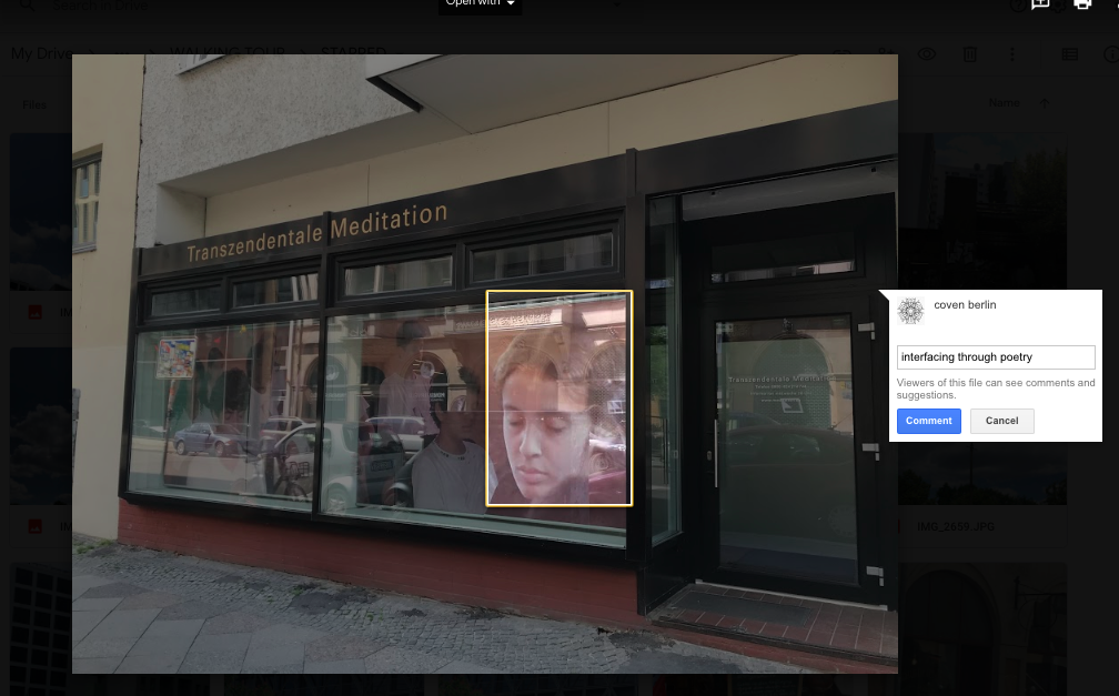 """Shop front for a """"trancendental meditation"""" centre.  A photo of a chidl with closed eyes is in the window.  Comment reads """"Interfacing through poetry."""""""