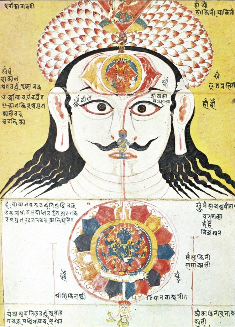 A 17th-century painting from Nepāl depicting a head and face with long black hair, a thin black beard above the mouth, big ears with long ear lobes and big wide-open eyes that are staring forward. A small grey figure sits at the tip of their nose and there is another red figure in a circle on their forehead. Black scripture above their eyes and on the golden background.