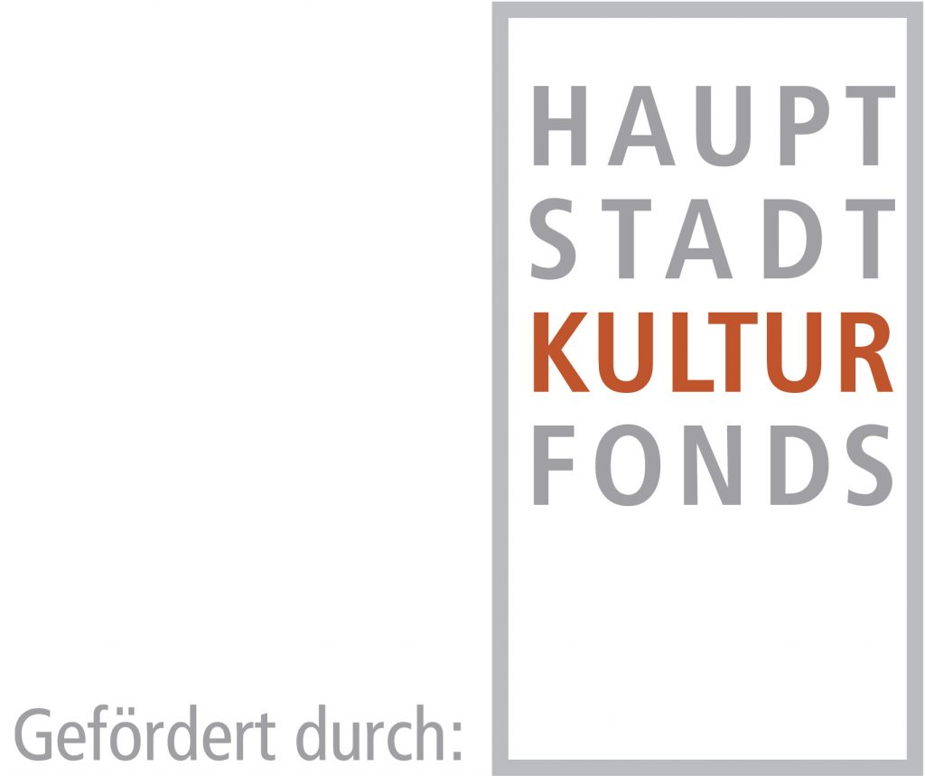 Logo for the Hauptstadtkulturfonds Berlin, written in a grey square