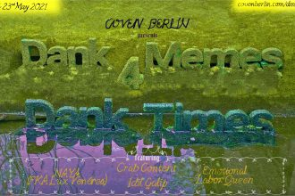 The words Dank Memes for Dank Times are sculpted as 3 dimensional letters on a green, blue and purple pond and moss. Event info is handwritten on top.