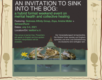 """Three frogs sit on a lily pad, as seen through a window with decorated curtains. Text reads """"An Invitation to sink into the Bog"""" July 3 and 4th, with some of the access information written in this article written on it."""