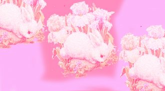 An image of three illustrated white bunnies with flowers behind them. They are on a pink background and there is a slight pink overlay as well.