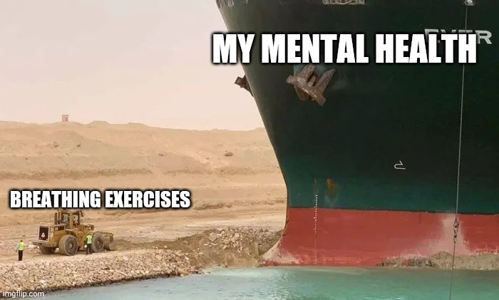An image of the end of the everglade ship wedged into the banks of the suez canal. There is a digger on the bank, which looks tiny next to the huge ship. Over the ship text says: my mental health and over the digger text says: breathing exercises.