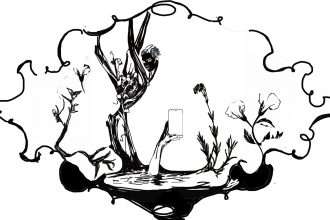 A black and white ink drawing of barren plants surrounded by a thin, wiggly border